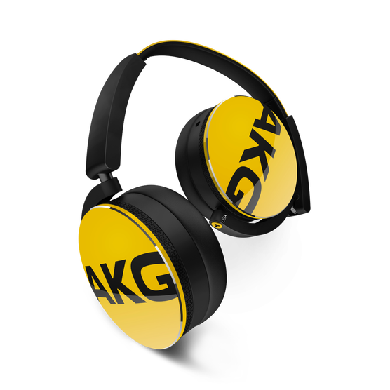 Y50 - Yellow - On-ear headphones with AKG-quality sound, smart styling, snug fit and detachable cable with in-line remote/mic - Hero
